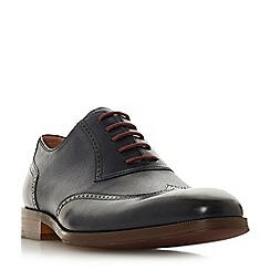 Dune - Navy 'Payne' saffiano embossed brogue shoes