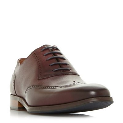 Dune - Maroon 'Payne' saffiano embossed brogue shoes