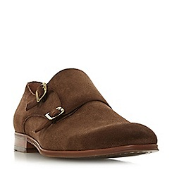 Dune - Brown 'Prospect' distressed double buckle monk shoes