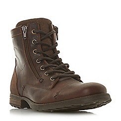 Dune - Brown 'Charing' double zip worker boots