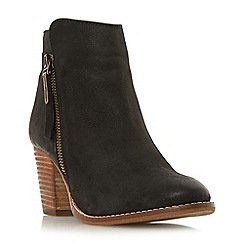 Dune - Black leather 'Ponntoon' mid block heel ankle boots