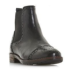 Dune - Black leather 'Queston' block heel chelsea boots