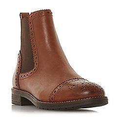 Dune - Tan leather 'Queston' block heel chelsea boots