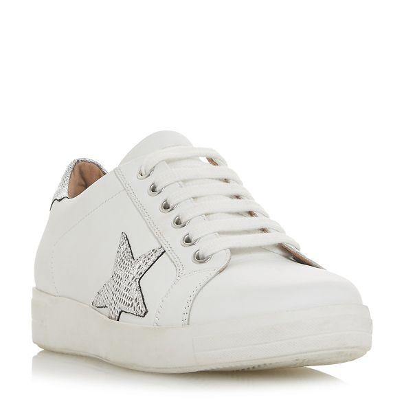 White leather Dune lace up 'Edris' trainers pRqqAd