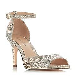 Roland Cartier - Gold 'Minda' mid stiletto heel ankle strap sandals