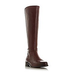 Dune - Maroon leather 'Traviss' knee high boots