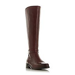 Dune - Maroon leather 'Traviss' knee high boots