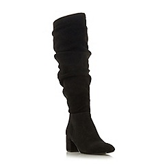 Dune - Black suede 'Sarento' mid block heel knee high boots