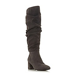 Dune - Grey suede 'Sarento' mid block heel knee high boots