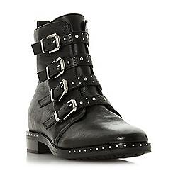 Dune - Black leather 'Pixxel' block heel biker boots
