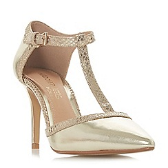 Head Over Heels by Dune - Gold 'Carlina' high stiletto heel t-bar shoes
