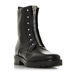 Dune - Black leatherRaffi' block heel biker boots