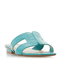 Dune - Turquoise 'Loupe' block heel mule slippers