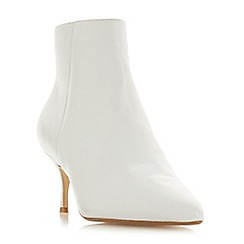Dune - White suede 'Orra' mid kitten heel ankle boots