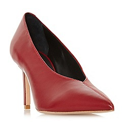 Dune Black - Maroon leather 'Amiga' mid stiletto heel court shoes