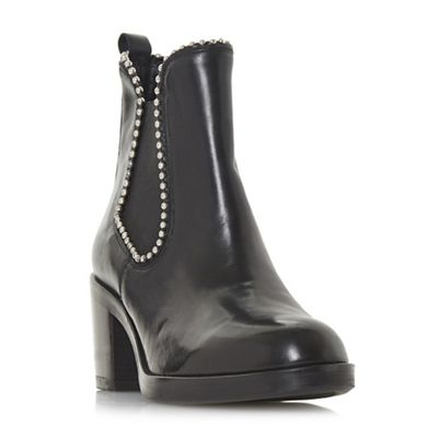 Dune Black - Black leather 'Paxtton' mid block heel ankle boots