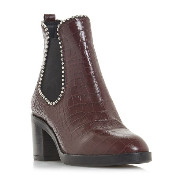 mid 'Paxtton' heel boots ankle Burgundy leather Black Dune block Iwx6pqOOt