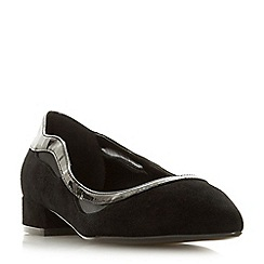 Dune - Black suede 'Bradshawe' block heel court shoes