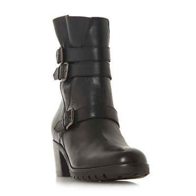 Dune   Black Leather 'reuben' Mid Block Heel Calf Boots by Dune
