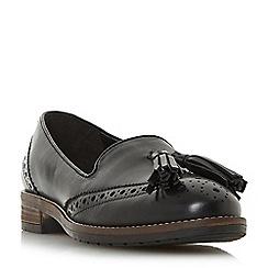 Dune - Black leather 'Gillian' block heel loafers