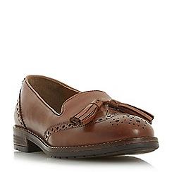 Dune - Tan leather 'Gillian' block heel loafers