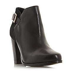 Dune - Black leather 'Oleria' high block heel ankle boots