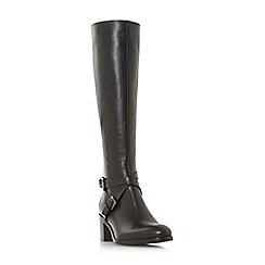 Dune Black - Black leather 'Torney' mid block heel knee high boots