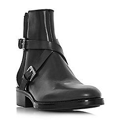Dune Black - Black leather 'Palme' block heel ankle boots