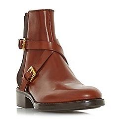 Dune Black - Tan leather 'Palme' block heel ankle boots