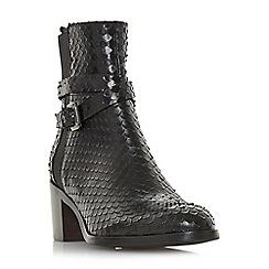 Dune Black - Black leather 'Peirce' mid block heel ankle boots