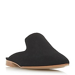 Dune - Black leather 'Glamerous' block heel mules