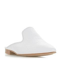 Dune - White leather 'Glamerous' block heel mules