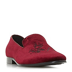 Dune - Maroon 'Palace' embroidered slipper cut loafers