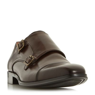 Dune - Brown 'Pyramid' double buckle monk shoes