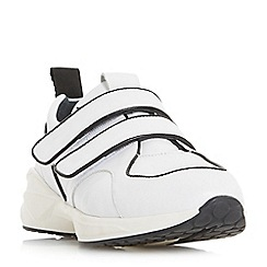 Dune Black - White leather 'Eede' casual trainers