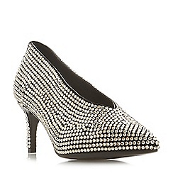 Dune Black - Silver leather 'Braiyer' mid stiletto heel court shoes