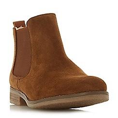Dune - Tan suede 'Prompted' block heel chelsea boots
