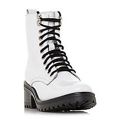 Steve Madden - White leather 'Geneva Steve Madden' mid block heel biker boots