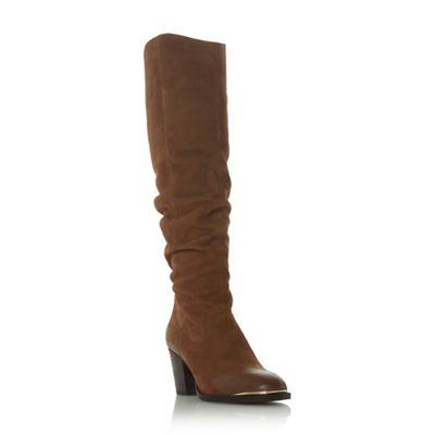 Steve Madden   Dark Tan Leather 'rova' Block Heel Knee High Boots by Steve Madden