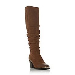 Steve Madden - Dark tan leather 'Rova' block heel knee high boots