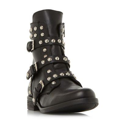 3e743a1e217 Steve Madden Black leather  Spunky  block heel biker boots