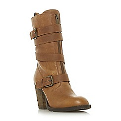Steve Madden - Dark tan leather 'Yens' high block heel calf boots