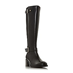 Dune - Black leather 'Tildaa' mid block heel knee high boots