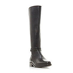 Dune - Black leather 'Wf traviss' block heel wide fit knee high boots