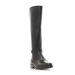 Dune - Black leather 'Wf traviss' block heel wide fit knee high boots