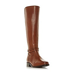 Dune - Tan leather 'Wf traviss' block heel wide fit knee high boots