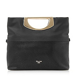 Dune - Black 'Electriic' textured fold-over clutch