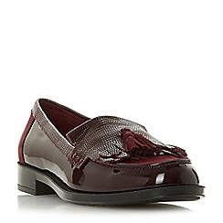 Dune - Maroon leather 'Greatly' block heel loafers
