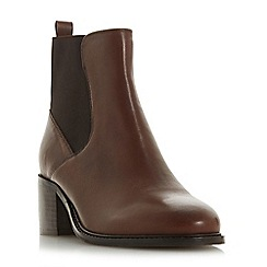 Dune - Tan leather 'Peptalk' mid block heel ankle boots