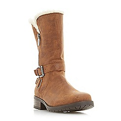 Head Over Heels by Dune - Tan 'Raina' block heel calf boots